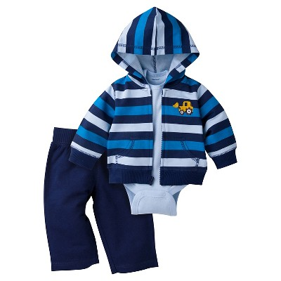 Baby Boys' Bulldozer Hooded Jacket, Short-Sleeve Onesie® and Pant Set 0-3m - Gerber®