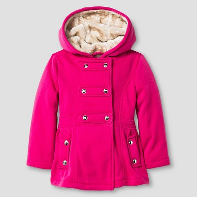 Baby Girls' Explorer by Urban Republic Hooded Double Breasted Fleece Jacket Neon Pink 12M