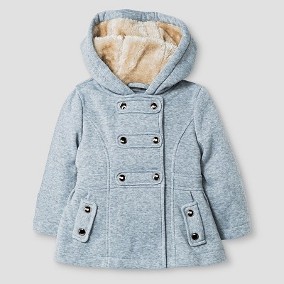 Baby Girls' Explorer by Urban Republic Hooded Double Breasted Fleece Jacket Heather Grey 12M