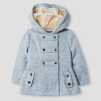 Baby Girls' Explorer by Urban Republic Hooded Double Breasted Fleece Jacket Heather Grey 12M