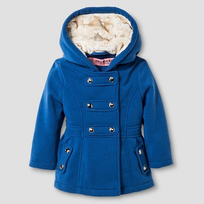 Baby Girls' Explorer by Urban Republic Hooded Double Breasted Fleece Jacket Navy 12M