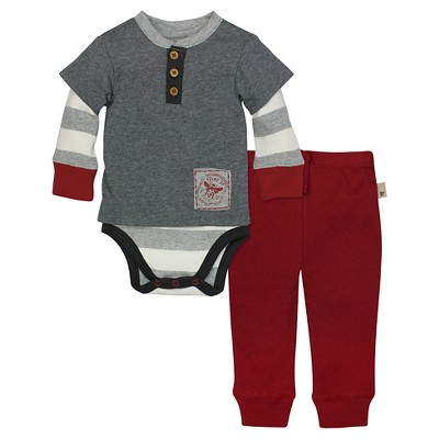 Organic Henley 2fer Bodysuit & Pant Charcoal Heather 3-6M - Burt's Bees Baby™