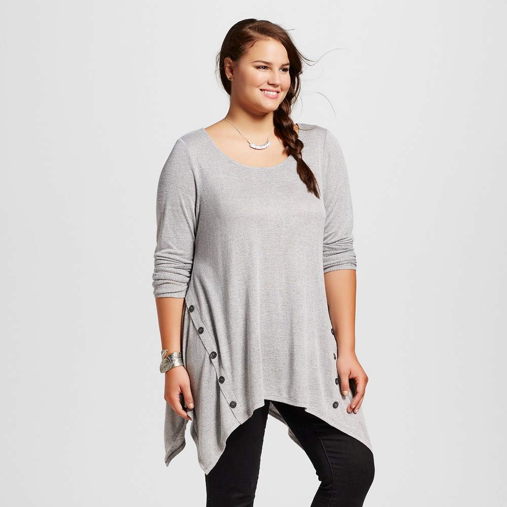 Women's Plus Size Long sleeve Hacci Tunic with Button Details Gray 2X - 3Hearts (Juniors'),  Size: 2XL plus size,  plus size fashion plus size appare
