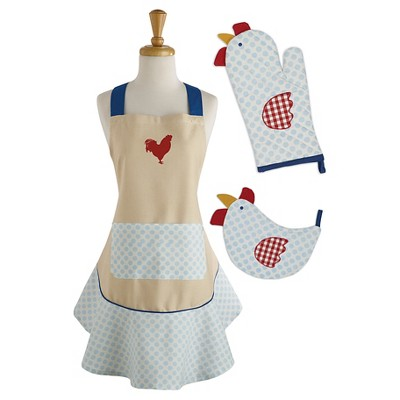 Rise/Shine Chef Gift Set Includes Apron/Potholder/Ovenmitt