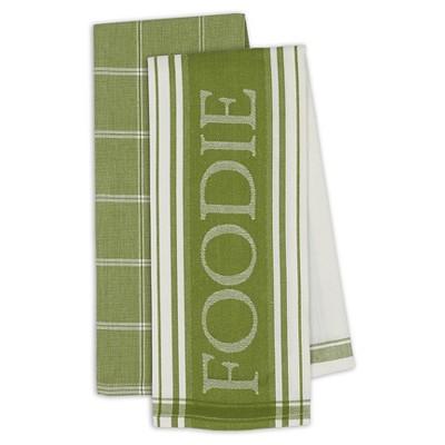 "Parsley Gourmet Dishtowel Includes 2 ""Foodie""/2 Plaid - Set Of 4 - (18""x28"") - Design Imports"