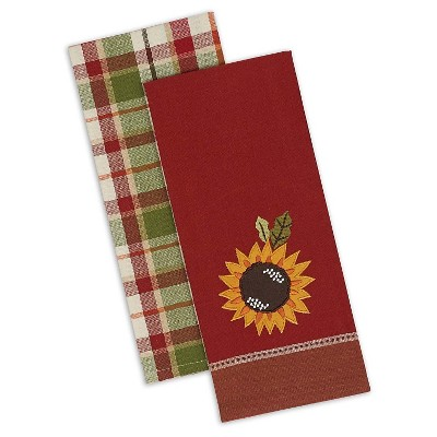"Country Sunflower Dishtowel Includes 2 Plaid/2 Embellished Sunflower - Set Of 4 - (18""x28"")"