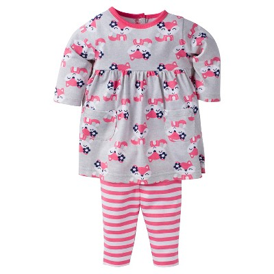 Baby Girls' Foxes Dress with Leggings Set 0-3m - Gerber®