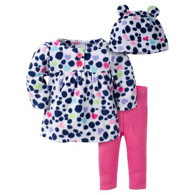 Baby Girls' Small Dots Microfleece Top, Slim Pant and Cap Set 0-3m - Gerber®