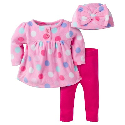 Baby Girls' Large Dots Microfleece Top, Slim Pant and Cap Set 3-6m - Gerber®