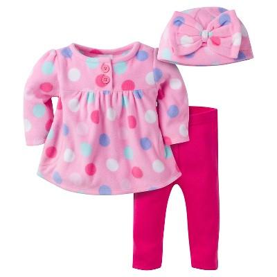 Baby Girls' Large Dots Microfleece Top, Slim Pant and Cap Set 0-3m - Gerber®
