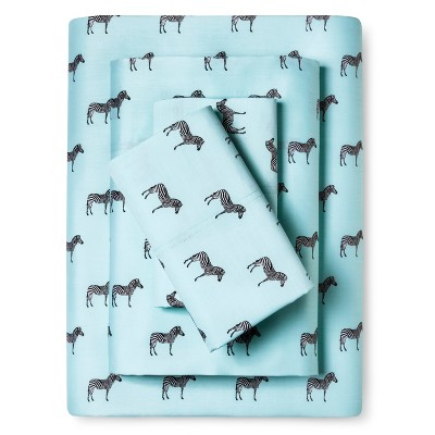 Whimsical Zebra Print Sheet Set (Queen) Aqua - Elite Home