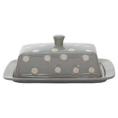 3R Studios Stoneware Butter Dish - Grey/White Polka Dots
