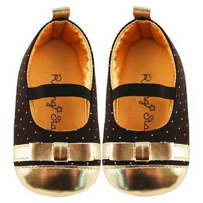 Baby Girls' Rising Star Ballerina Flat Crib Shoes Black/Gold 3-6M