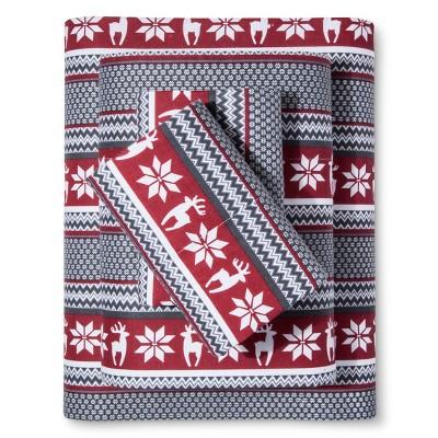 Deer Cotton Flannel Sheet Set (Queen) Red - Elite Home