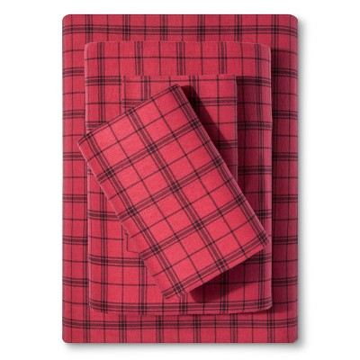 Check Cotton Flannel Sheet Set (Queen) Red - Elite Home®