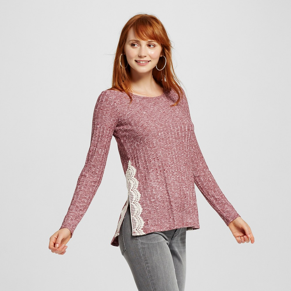 Women's Side-Slit Rib Long Sleeve Knit Top Wine (Red) S - Xhilaration (Juniors'), Size: Small