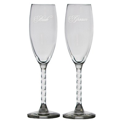 Bride and Groom Clear Flutes Drinkware Set