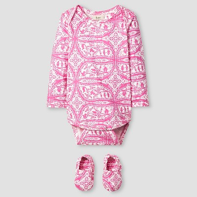 Kate Quinn Organics Baby Girls' Long Sleeve Bodysuit & Bootie Set - Pink 0-3M