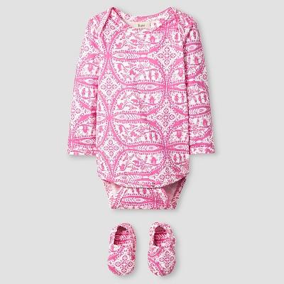 Kate Quinn Organics Baby Girls' Long Sleeve Bodysuit & Bootie Set - Pink 6-9M