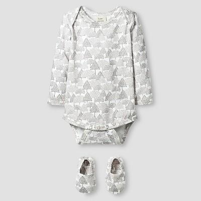 Kate Quinn Organics Baby Long Sleeve Bodysuit & Bootie Set - Brown 12M