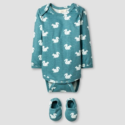 Kate Quinn Organics Baby Long Sleeve Bodysuit & Bootie Set - Green 0-3M