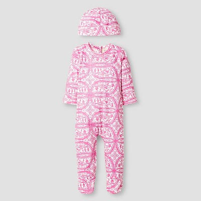Kate Quinn Organics Baby Girls' Long Sleeve Footie & Hat Set - Pink 3-6M