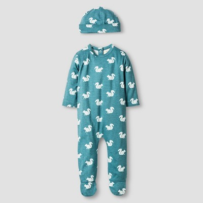 Kate Quinn Organics Baby Long Sleeve Footie & Hat Set - Green 6-9M