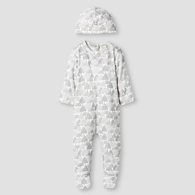 Kate Quinn Organics Baby Long Sleeve Footie & Hat Set - Brown 0-3M
