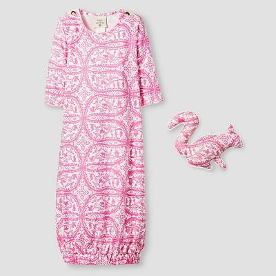 Kate Quinn Organics Baby Girls' Long Sleeve Nightgown & Rattle Set - Pink 0-3M