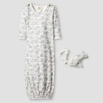 Kate Quinn Organics Baby Long Sleeve Nightgown & Rattle Set - Brown 0-3M