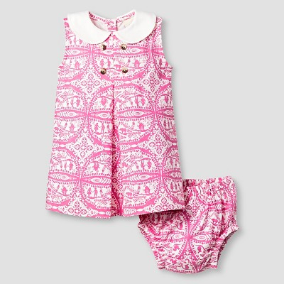 Kate Quinn Organics Baby Girls' Dress & Bloomer Set - Pink 0-3M