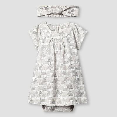 Kate Quinn Organics Baby Girls' Dress Bodysuit & Headband Set - Brown 3-6M