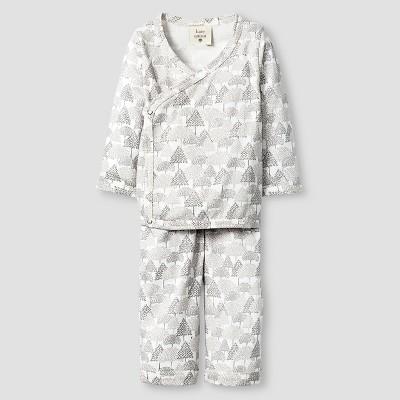 Kate Quinn Organics Baby Long Sleeve Kimono Top & Bottom Set - Brown 0-3M