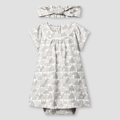 Kate Quinn Organics Baby Girls' Dress Bodysuit & Headband Set - Brown 0-3M