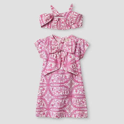Kate Quinn Organics Baby Girls' Dress & Headband Set - Pink 0-3M
