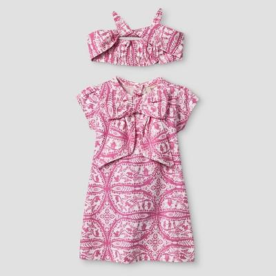 Kate Quinn Organics Baby Girls' Dress & Headband Set - Pink 3-6M