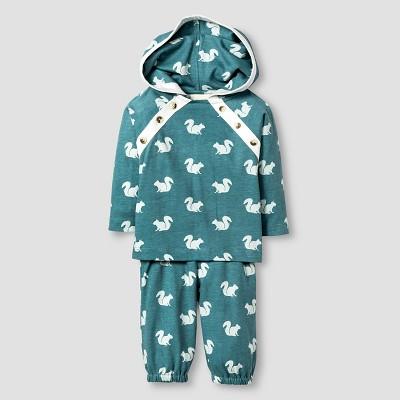 Kate Quinn Organics Baby Long Sleeve Hoodie & Pant Set - Green 0-3M