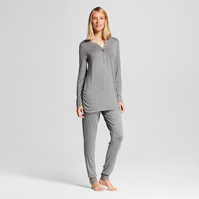 Lamaze Women's Nursing Henley Long Sleeve Shirt and Pant Pajamas Set - Charcoal Heather L