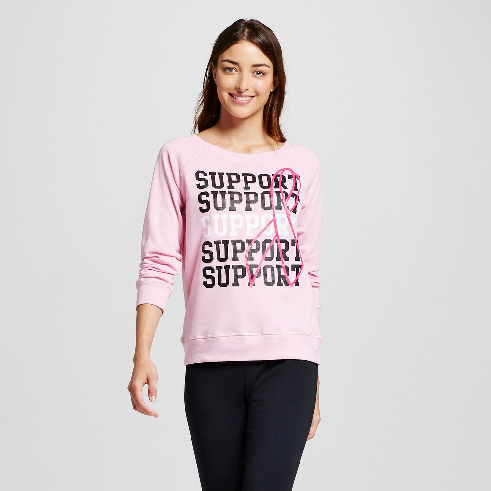 Women's Support the Cure Pajama Sweatshirt - Pink M, Size: Medium