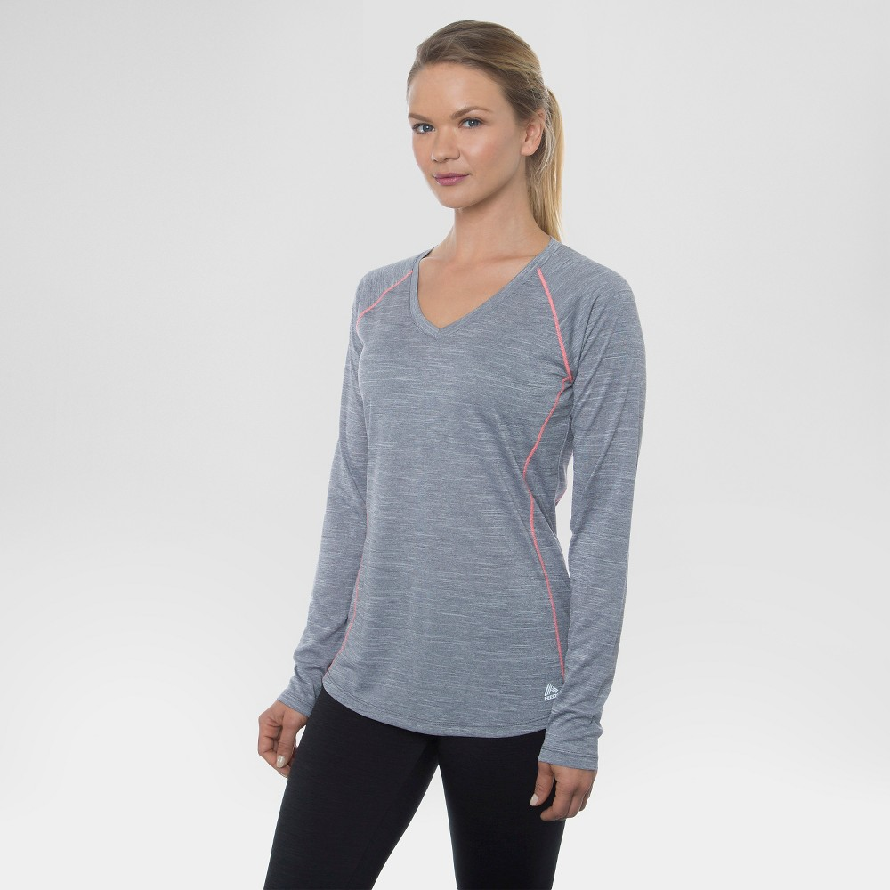 Women's Long Sleeved Space Dye Tee Platinum Grey M - Rbx, Size: Medium, Quartz Grey