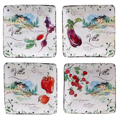 "Certified International Villa Set of 4 Canape Plate 6"" Assorted"