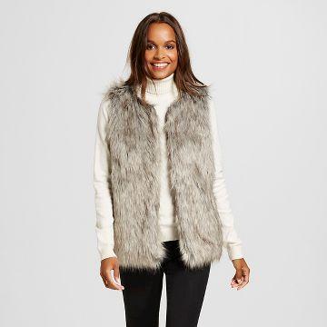 Women's Faux Fur Vest Gray/Black - Merona™
