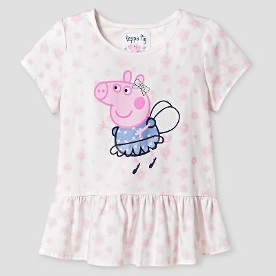 Girls' Peppa the Pig Short Sleeve Tee - XS (4-6)