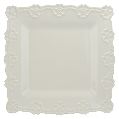 "10 Strawberry Street Lace 12"" Square Platter - White"