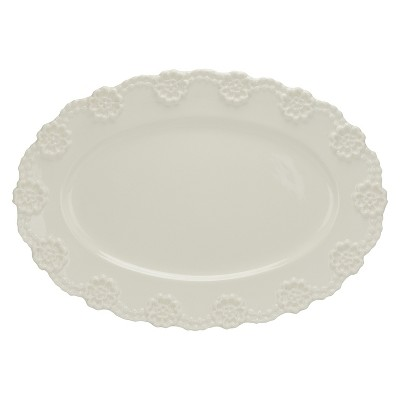 "10 Strawberry Street Lace 16"" Oval Platter - White"