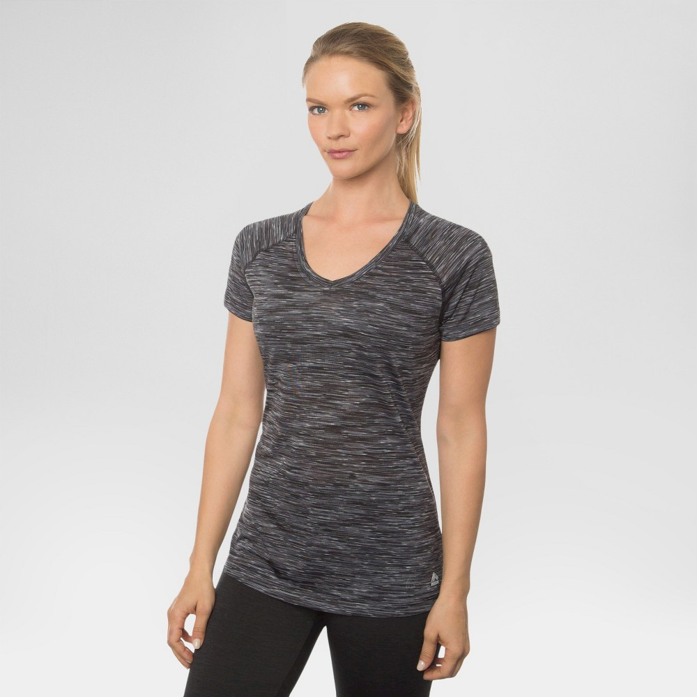 Women's Single Space Dye V-Neck Tee Black with White S - Rbx, Size: Small, Black/White