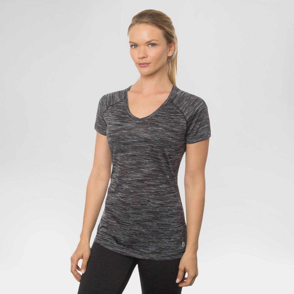 Women's Single Space Dye V-Neck Tee Black with White M - Rbx, Size: Medium, Black/White