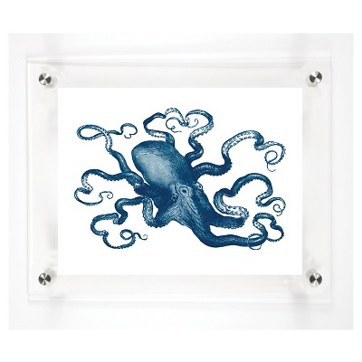 "Mitchell Black Octopus Decorative Framed Wall Canvas Midnight (12""x15"")"
