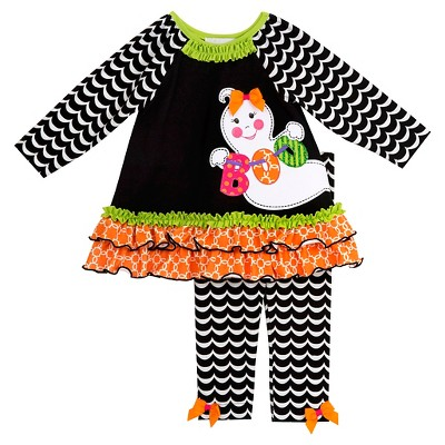 Rare, Too! Toddler Girls' Two Piece Ghost Set 2T - Black