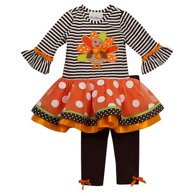Rare, Too! Toddler Girls' Two Piece Turkey Set 2T - Brown